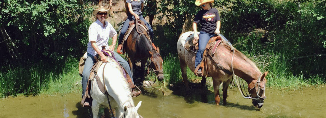 Family horseback riding in Montana