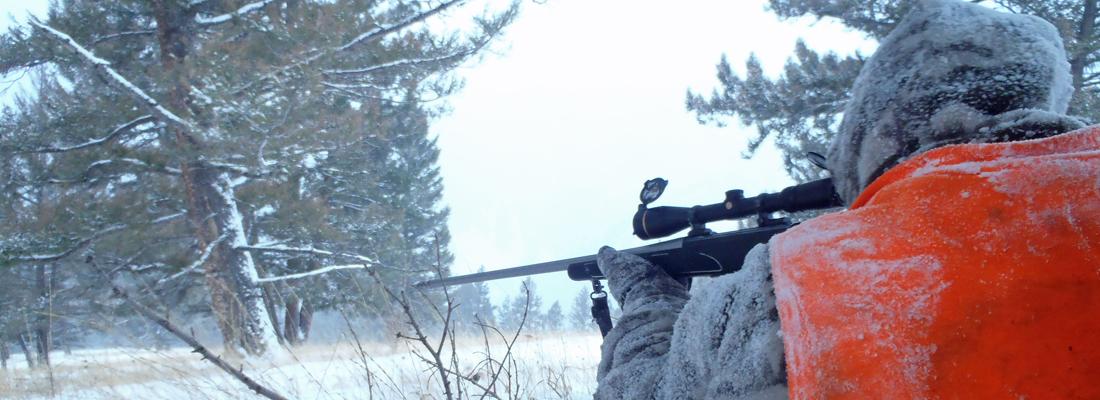 Hunting elk in the snow in Montana